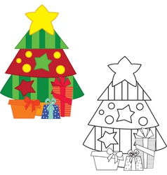 Christm tree coloring book vector