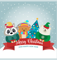 christmas card collection with animals and wishes vector image