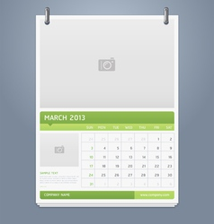 Clean calendar 2013 template design vector image