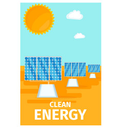 Clean energy poster with solar system batteries vector