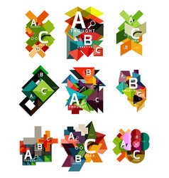 Collection of paper geometric infographics a b c vector