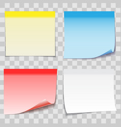 Colored paper sticky note with adhesive tape vector