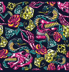 colorful tattoos seamless pattern vector image