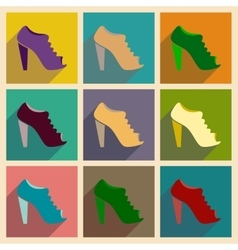 Concept of flat icons with long shadow heeled vector