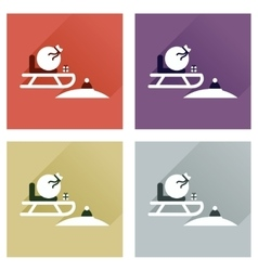 Concept of flat icons with long shadow Santas vector image