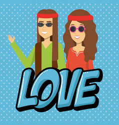 Couple hippies lifestyle characters vector