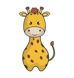 cute giraffe animal kawaii style vector image