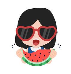 Cute girl eat fresh watermelon bite vector