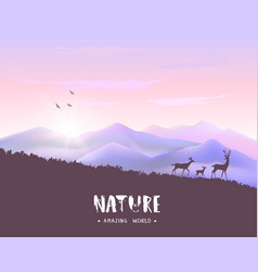 Deer mountains vector