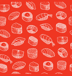 doodle sushi - food seamless pattern vector image