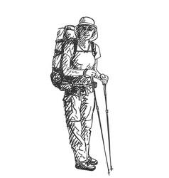 drawing girl backpacker hiking sketch hand vector image