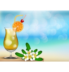 Drink juice with floral on the table vector image