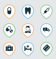 Drug icons set collection of injection remedy vector