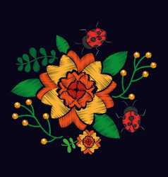 Embroidery with flowers textile traditional vector