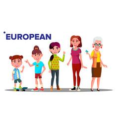 european generation female set people person vector image