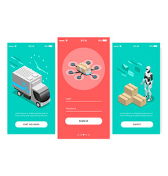 Fast delivery isometric banners vector