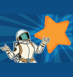 Female astronaut opened his arms dream star vector
