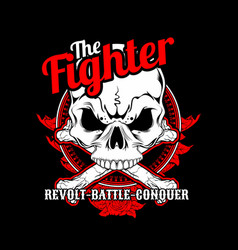 fighter skull cross bone hand drawingshirt vector image