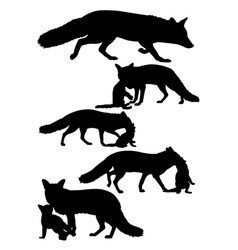 fox mammal animal silhouette vector image
