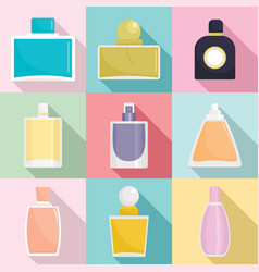 Fragrance bottles perfume icons set flat style vector
