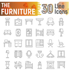furniture thin line icon set interior symbols vector image