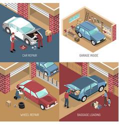 Garage isometric design concept vector