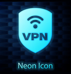 Glowing neon shield with vpn and wifi wireless vector