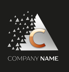 Golden letter c logo in silver pixel triangle vector