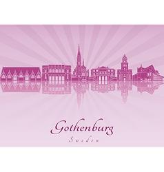 Gothenburg skyline in purple radiant orchid vector