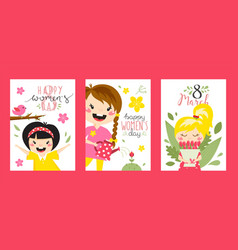 greeting cards with cute girls happy womens day vector image