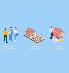 Isometric concept for home agent sale and rent of vector