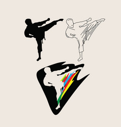judo line art silhouette and logo vector image