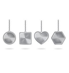 keychains set metal round square heart hexagon vector image