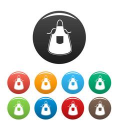 Kitchen apron icons set color vector