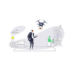 man getting parcel gift box from quadcopter vector image