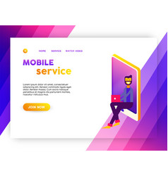 Mobile phone social media internet landing page vector