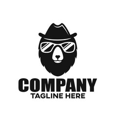modern bear in a hat and glasses logo vector image