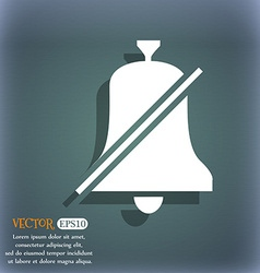 No bell Prohibition icon On the blue-green vector image