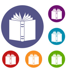 open thick book icons set vector image