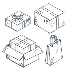 parcel and box present and shopping bags set vector image
