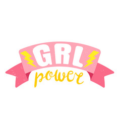 Poster girl power with pink ribbon vector