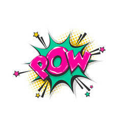 pow pop art comic book text speech bubble vector image