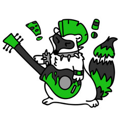 Punk rock raccoon with guitar clipart vector