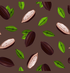 realistic 3d cocoa beans seamless pattern vector image