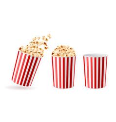 realistic bucket popcorn 3d corn snacks paper vector image