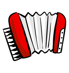 Red accordion on white background vector