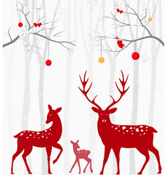 Red christmas deer with birch tree vector
