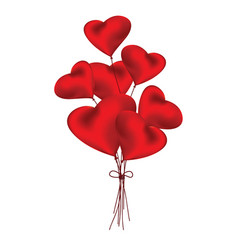 red heart shaped balloons of love on white vector image