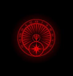 Red sundial silhouette vector