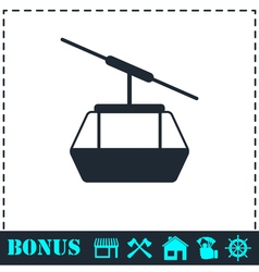 Ropeway cabines icon flat vector
